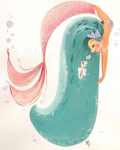 I love the movement in this mermaid illustration