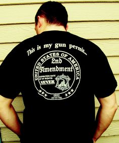 This is my GUN PERMIT 2nd Amendment tshirt New black white tee BACK shirt mens cowboy or death flag patriot don't tread on me snake S M L xl. $12.99, via Etsy.