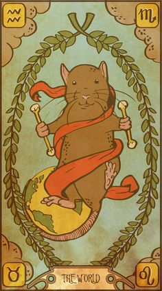 Muroidea Rat Tarot- The World Art Print