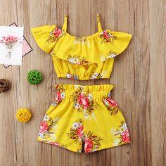 Kleinkind Kinder Baby Mädchen Floral Outfits Kleidung T-Shirt Tops + Pants / Shorts Set Kleinkind scherzt Baby-Blumenausstattungs-Kleidungs-T-Shirt Tops + Pants / Shorts Set Girls Summer Outfits, Toddler Outfits, Kids Outfits, Cute Outfits, Floral Outfits, Baby Outfits, Short Outfits, Baby Girl Fashion, Fashion Kids