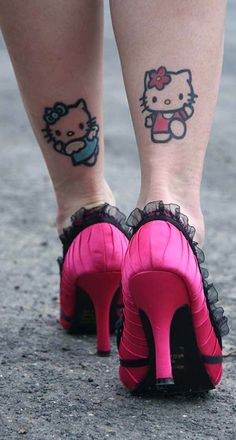 Hello Kitty Leg Calf Tattoo Ideas for Women - www.MyBodiArt.com