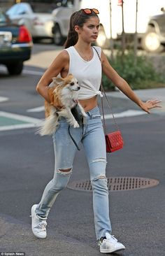 Out and about: Sara Sampaio was spotted out with her small dog in the Soho neighbourhood of New York City on Thursday
