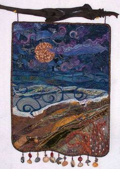 Quilt - Fiber Art Quilts-Beachscape Inspiration for silk painting Fiber Art Quilts, Textile Fiber Art, Textile Artists, Small Quilts, Mini Quilts, Quilting Projects, Art Projects, Landscape Art Quilts, Quilt Art