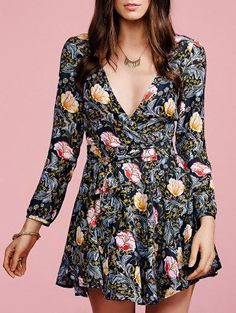 Zaful - Zaful Long Sleeve Crossover Collar Floral Dress - AdoreWe.com