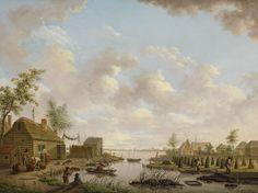 Landschap met vissers en turfstekende boeren in het laagveen, Hendrik Willem Schweickhardt, 1783