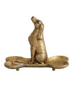 Look at this #zulilyfind! Gold Dog Sitting In Bone Pewter Jewelry Holder #zulilyfinds