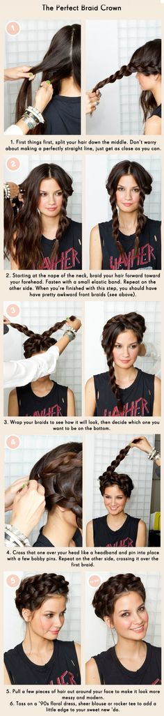 How to create a perfect #braid crown #hairstyle.