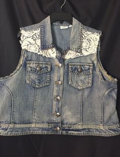 Catco Women Blue Jean Vest Plus Size 18W/20W Crochet Lace Off White Trim  | eBay