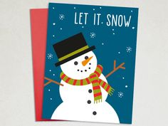 Christmas Card - Let It Snow - Snoman Holiday Card