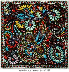 украинский традиционное искусство точка картина на черном фоне, ручной искусства с декоративный цветок - фото