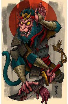 Favor The Brave — Monkey Zodiac Warrior Neo Tattoo, Tatoo Art, Tattoo Drawings, Tattoo Ink, Samurai Tattoo, Samurai Art, Japanese Tattoo Art, Japanese Art, Japanese Sleeve