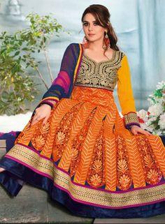 Buy Bollywood Designer Yellow Anarkali Suit $103.61 . Shop at -  bollywood-ankle-length-anarkali.blogspot.co.uk/2014/06/buy-bollywood-designer-yellow-anarkali.html