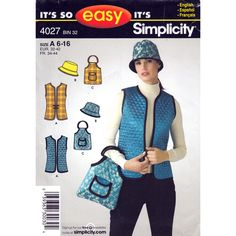 Vest Hat and Bag Pattern Simplicity 4027 Purse Womens Accessories Sewing Pattern UNCUT