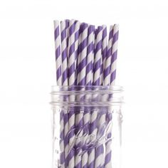 Vintage Paper Drinking Straws - Purple Striped Paper Straws (25/Pack) $3.50 (wholesale)
