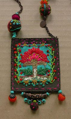 Items similar to The embroideries amulet on Etsy Fiber Art Jewelry, Textile Jewelry, Fabric Jewelry, Jewelry Art, Beaded Jewelry, Handmade Jewelry, Jewellery, Fabric Beads, Fabric Art