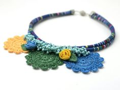 Necklace-Ethnic Handmade Crochet Necklace,Crystal Beaded Statement Jewelry,Crochet Leaf & Rose Necklace,Fiber Art,FREE SHIPPING