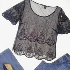 """BKE Boutique Beaded Lace Shirt I see a couple of sequins missing but they are not noticeable until you study the shirt. Beaded and sequined all over the front with a sheer mesh lace fabric. It would be real easy to replace the sequins if you choose. Bust 38"""" and Length is 23.5"""". BKE Tops Blouses"""