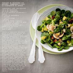 Insalata di valeriana con avocado, champignon e noci in vinaigrette di patate, by Vanigliacooking