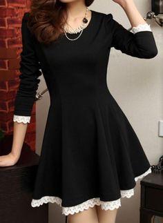Black Lace Panel Long Sleeve Skater Dress