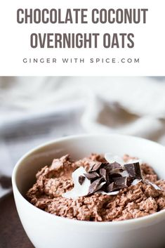 Chocolate Coconut Overnight Oats are for those who are short on time, but high on healthy appetite and want a filling, nutritious meal. Click to find the recipe! #overnight #oats #chocolate #recipe #food #coconut