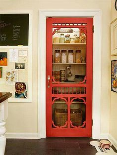 A red-painted screen door makes pantry storage more attractive LOVE THIS IDEA Kitchen Redo, Kitchen Remodel, Red Kitchen Decor, Kitchen Doors, Kitchen Ideas, Kitchen Dresser, Kitchen Cupboards, Kitchen Pantry, Kitchen Stuff
