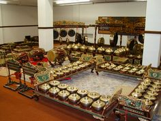 """""""A gamelan is a kind of musical ensemble of Indonesian origin typically featuring a variety of instruments such as metallophones, xylophones, drums, and gongs; bamboo flutes, bowed and plucked strings, and vocalists may also be included. The term refers more to the set of instruments than the players of those instruments. A gamelan as a set of instruments is a distinct entity, built and tuned to stay together — instruments from different gamelan are not interchangeable."""