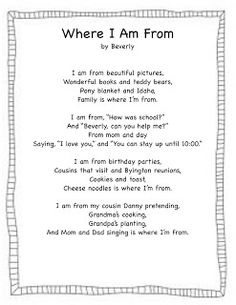 Where I'm From...poetry template | School Ideas - Poetry ...