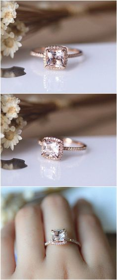 6.5mm Princess Cut Morganite Engagement Ring Solid 14K Rose gold Wedding Ring Anniversary Ring Bridal Ring Set / http://www.deerpearlflowers.com/engagement-rings-from-etsy/