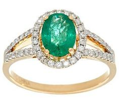 Ruby, Emerald or Sapphire & Diamond Ring 14K Gold 0.90 ct