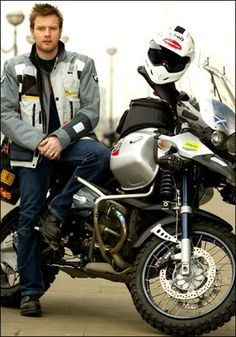 British actor Ewan McGregor launches his 20,000 mile London to New York motorcycle journey in London. McGregor rode a BMW R1150GS motorcycle across 5 continents in 3 months.