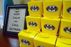 Great Idea for the favor table........The Harmon Baby Farm: Cole is FOUR!!! {a Batman Birthday Party}
