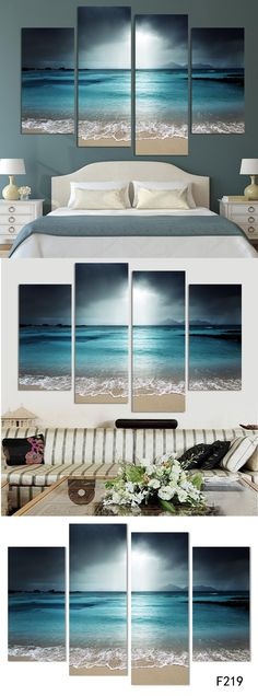 4 Panel Modern Wall Art Home Decoration Frameless Painting Canvas Prints Pictures Sea Scenery With Beach Unframed $36.8