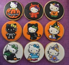 hello kitty halloween cookies and like OMG! get some yourself some pawtastic adorable cat apparel! Logo Cookies, Fall Cookies, Cute Cookies, Cupcake Cookies, Sugar Cookies, Kitty Cupcakes, Hello Kitty Cookies, Hello Kitty Cake, Hello Kitty Birthday