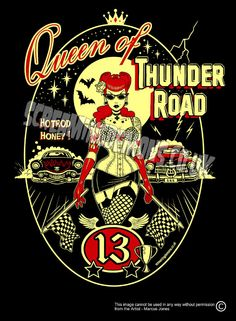 "Queen of Thunder Road Art Print by Marcus Jones 11.5"" x 8"" approx"