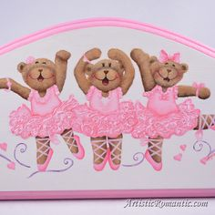 Pink Ballerina Princess Teddy Bears Plaque Wood Sign Girls Room Decor – by Artistic Romantic