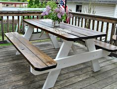 Farmhouse Picnic Table - The Painted Home by Denise SabiaYou can find Picnic tables and more on our website.Farmhouse Picnic Table - The Painted Home by Denise Sabia Painted Picnic Tables, Diy Picnic Table, Outdoor Picnic Tables, Outdoor Farmhouse Table, Kids Picnic Table Plans, Picnic Table With Umbrella, Home Depot Picnic Table, Kids Wooden Picnic Table, Folding Picnic Table Bench
