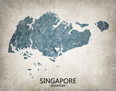 Singapore Map Home Is Where The Heart Is Love Map by TRPrints