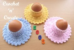 Staying with the Easter theme for you, today I have designed a pattern for a crochet egg cup-saucer. I have made them in bright pastel colors that I& . Crochet Egg Cozy, Crochet Food, Easter Crochet Patterns, Crochet Stitches Patterns, Crochet Classes, Crochet Projects, Crochet Gratis, Free Crochet, Crochet Square Blanket