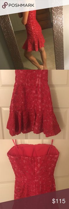 BCBG little red dress Only worn once, storage bag included. Super flattering, message with any questions. Make an offer! BCBG Dresses Strapless