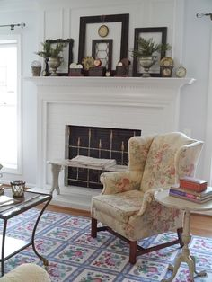 Fireplace Mantel Winter. at Chateau Chic