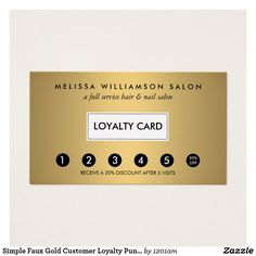 simple faux gold customer loyalty punch card - Business Punch Cards