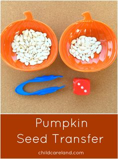 Math center Halloween fall October Pumpkin Seed Transfer Preschool and Kindergarten Math and Fine Motor Activity