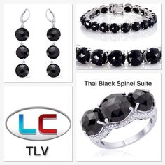 Liquidation Channel: Thai Black Spinel Ring, Lever Back Earrings, and Bracelet in Platinum Overlay Sterling Silver (Nickel Free)