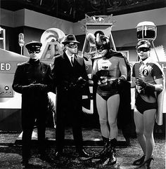 Van Williams and Bruce Lee as The Green Hornet and Kato with Adam West and Burt Ward as Batman and Robin.