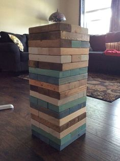 "This "" Jenga "" project took me a year to complete. I am all about free.....so patience and time I do have. 😁 I am a volunteer at habitat for humanity. So collected my wood there. I collected 2x4s for a year at the building sites. Took a long time as the scraps are few. Habitat does not waste good lumber. Cut into 10 1/2"" lengths. 54 of them for now. Will add up to 72 for larger game. The next step is to sand all sides, then sand some more. I used my palm sander with 120 grit sand paper…"