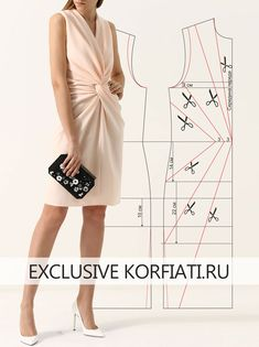 Dress pattern with drapery at the waist from Anastasia Korfiati - - Dress Sewing Patterns, Blouse Patterns, Clothing Patterns, Blouse Designs, Fabric Sewing, Skirt Patterns, Sewing Clothes, Diy Clothes, Karneval Diy