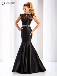 Clarisse Belted Mermaid Prom Dress 4807. Unique and sophisticated black evening gown or military ball dress.   Promgirl.net