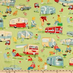 Michael Miller Trailer Travel Camp Multi from @fabricdotcom%0A%0ADesigned for Michael Miller, this retro fabric features an allover design of scenes from a trailer camp. The color palette includes turquoise, silver, coral, white and yellow on a green background. Use for quilting and craft projects as well as apparel and home decor accents.