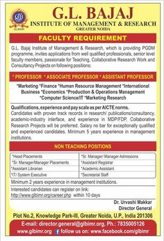 Faculty and Non-Teaching Staff Recruitments at GLBIMR  GLBIMR, Greater Noida in its continuous endeavor to upgrade its benchmarks, is keen on recruiting Faculty and Non-Teaching Staff in various positions. Candidates who have demonstrated excellence in Research/Publications/ Consultancy, Academic– Industry Interface and have experience in MDP/FDP are encouraged to apply. Kindly refer the given link and fill your candidature online : http://glbimr.org/career.php