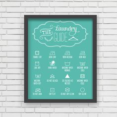 With an effortless modern style, Lucy Darling offers a high-quality Laundry Guide art print to celebrate life's darling moments. • Perfect Home and Wall Decor item! • Great gift item! • Unique, retro,